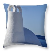 Traditional Chimney In Oia Town Throw Pillow