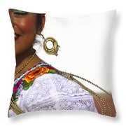 Traditional Ethnic Dancers In Chiapas Mexico Throw Pillow