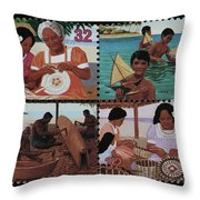 Traditional Pacific Handicrafts Postage Stamp Print Throw Pillow