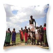 Traditional Samburu Dance Throw Pillow