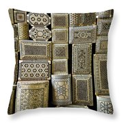 Traditional Souvenir Boxes In Market Of Cairo Egypt  Throw Pillow