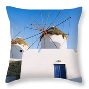 Traditional Windmill In A Village Throw Pillow