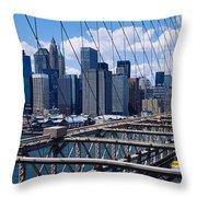 Traffic On A Bridge, Brooklyn Bridge Throw Pillow
