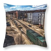 Traffic On Lincoln Street Throw Pillow