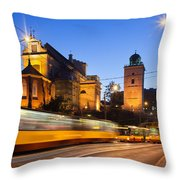 Traffic On The Solidarity Avenue In Warsaw Throw Pillow