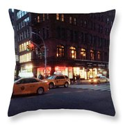 Traffic On The Street At Night, 23rd Throw Pillow