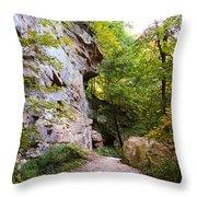 Trail Beside The Cliff Wildcat Den State Park Throw Pillow