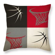 Trail Blazers Ball And Hoop Throw Pillow