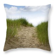Trail Over The Dune To The Summer Beach Throw Pillow