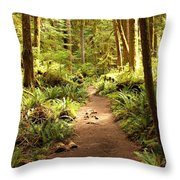 Trail Through The Rainforest Throw Pillow by Carol Groenen