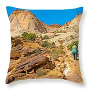 Trail Up To The Tanks From Capitol Gorge Pioneer Trail In Capitol Reef National Park-utah Throw Pillow