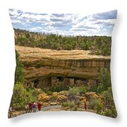 Trail View Of Spruce Tree House On Chapin Mesa In Mesa Verde National Park-colorado Throw Pillow