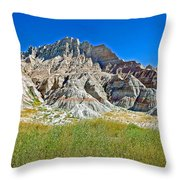Trailhead For Saddle Pass Trail In Badlands National Park-south Dakota   Throw Pillow