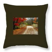 Trailing In Autumn Throw Pillow