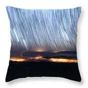 Trails Of Stars Over Big Island Throw Pillow