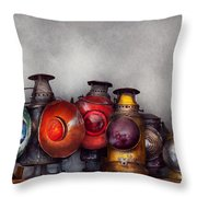 Train - A Collection Of Rail Road Lanterns  Throw Pillow