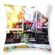 Train Abstract Blend 1 Throw Pillow