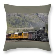 Train Arriving In Silverton Throw Pillow