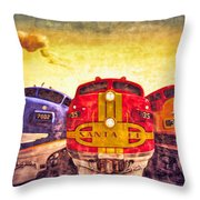 Train Art At Union Station Throw Pillow
