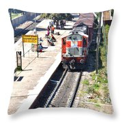 Train At Delhi Station Throw Pillow