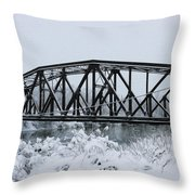 Train Bridge Over The Genesee River Throw Pillow
