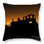 Uyuni Train Cemetery Sunset Bolivia Throw Pillow