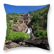 Train Crossing Dudhsagar Falls Throw Pillow