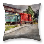 Train - Engine - Black River Western Throw Pillow by Mike Savad