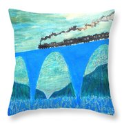 Train For A New World By Taikan Throw Pillow