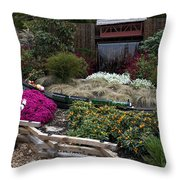 Train Garden And Girl Throw Pillow