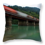 Train In Motion Throw Pillow