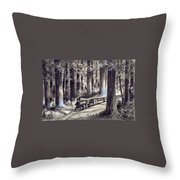 Train In The Redwoods Throw Pillow