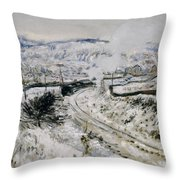 Train In The Snow At Argenteuil Throw Pillow by Claude Monet