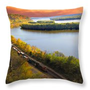 Train Mississippi River Sunset Throw Pillow