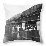 Train On A Trestle Throw Pillow