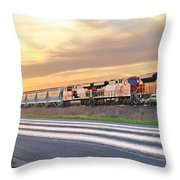 Train On The Tracks Throw Pillow