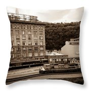 Train Passes Station Square Pittsburgh Antique Look Throw Pillow