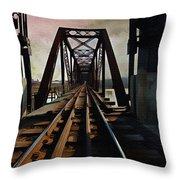 Train Rail Bridge  Throw Pillow