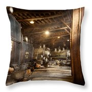 Train - Ready In The Roundhouse Throw Pillow by Mike Savad