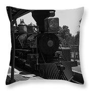 Train Ride Magic Kingdom Black And White Throw Pillow