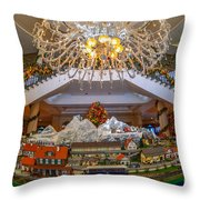 Train Set At Charleston Place Hotel Throw Pillow
