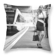 Train Station - Waiting Throw Pillow
