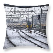 Train Station Zwolle In Winter Netherlands Throw Pillow