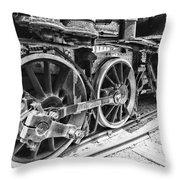 Train - Steam Engine Wheels - Black And White Throw Pillow