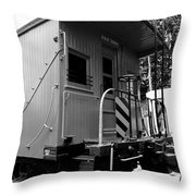 Train - The Caboose - Black And White Throw Pillow