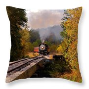 Train Through The Valley Throw Pillow by Robert Frederick