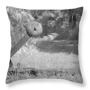train track change in infrared light in the forest in Netherlands Throw Pillow