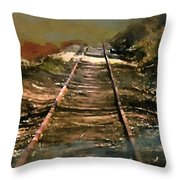 Train Track To Hell Throw Pillow