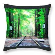 Train Tracks In Forest Throw Pillow