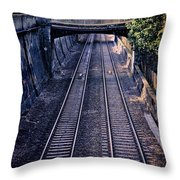 Train Tracks Into Town Throw Pillow